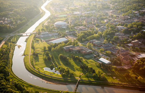 Aerial photo of Ohio University Athens campus with Hocking River in view