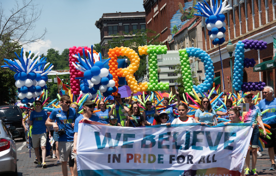 Photo from 2018 of the Athens, Ohio annual Pride Parade