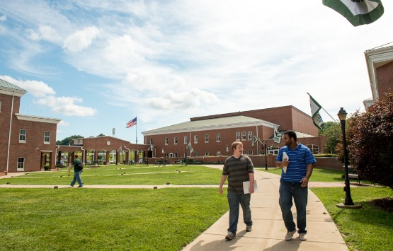 Students walking between classes on a sunny day