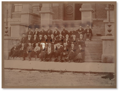 Group portrait from 1867 at the Athens County Courthouse, highlighted is Archibald G. Brown