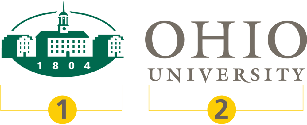 Diagram of Ohio University logo elements