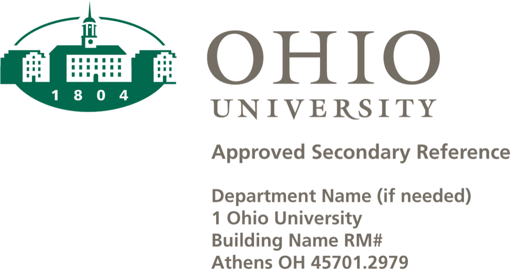 Ohio University Logo with secondary reference and address
