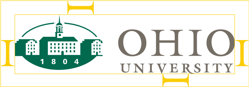 Diagram of Ohio University logo spacing requirements