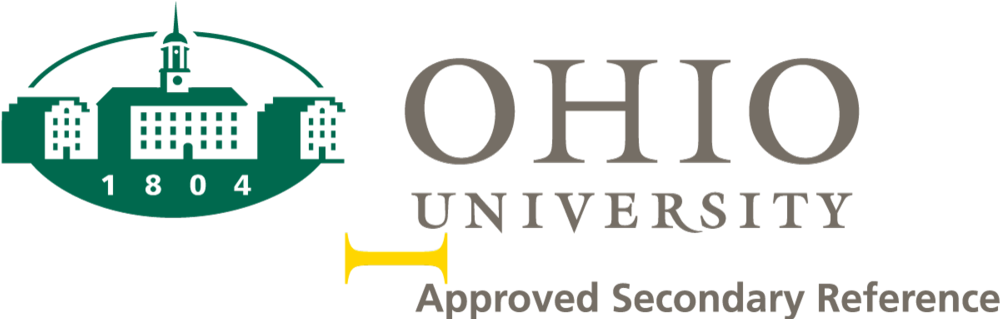Ohio University Logo example with secondary reference and spacing guide