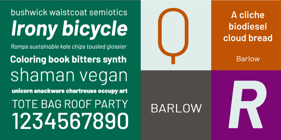 Preview block showing Barlow font examples