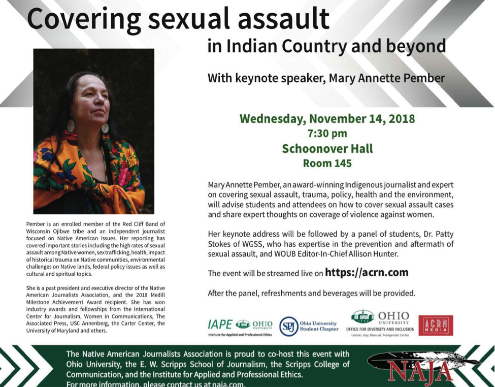 Covering Sexual Assault in Indian Country and Beyond Flyer 2018