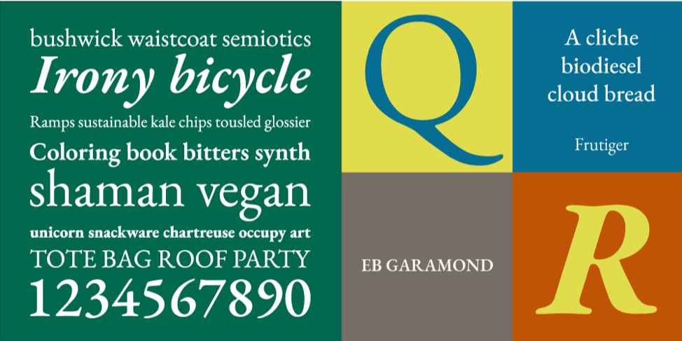 Preview block showing Garmond font examples