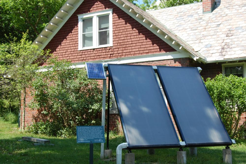 The Solar Thermal system at the OHIO Ecohouse helps reduce the amount of energy dedicated to heating the water used by the residents.