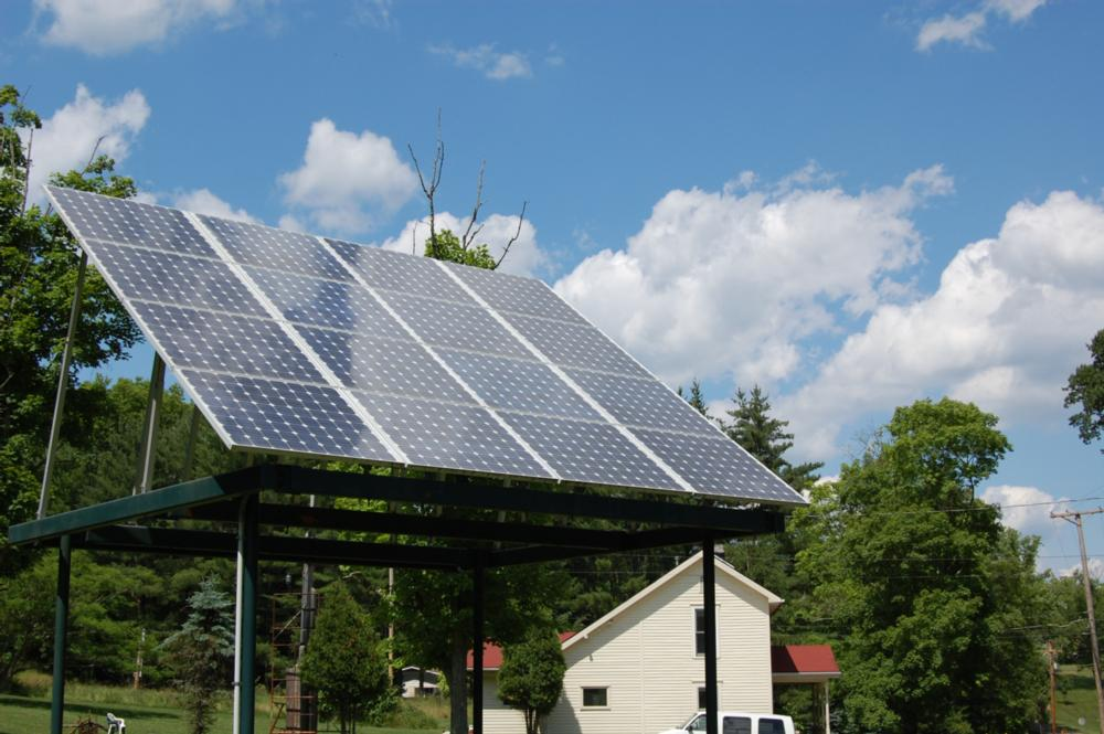 The PV array at the OHIO Ecohouse is mounted to a raised frame to optimize access to sunlight.