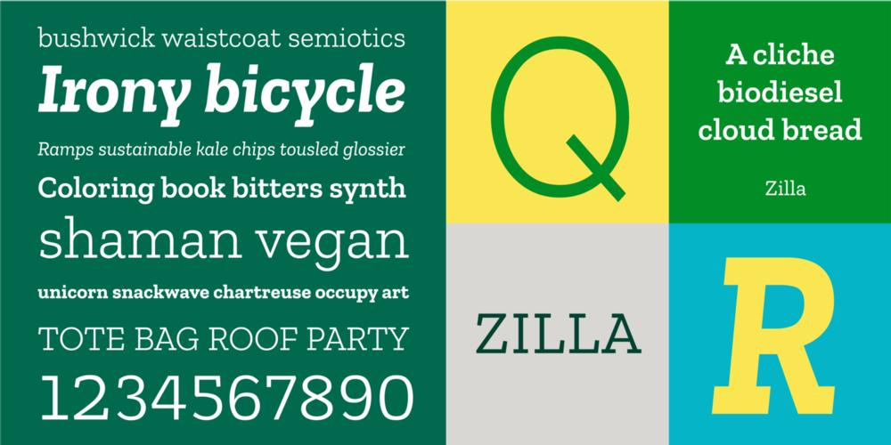 Preview block showing Zilla font examples
