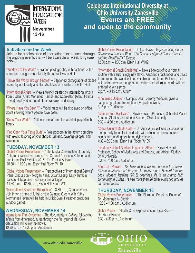International Education Week 2018 events at the Ohio University Zanesville Campus