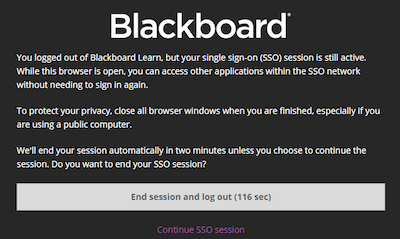 Screen shot: Blackboard Learn logout