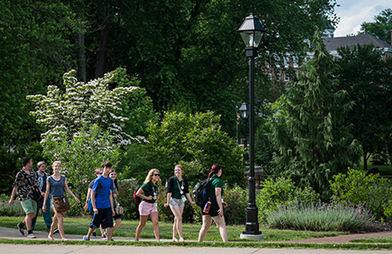 Students on a walk during Bobcat Student Orientation