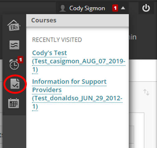 Screenshot of the dropdown menu in Blackboard with the button for My Grades circled.