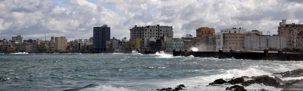 Cuba water and buildings landscape