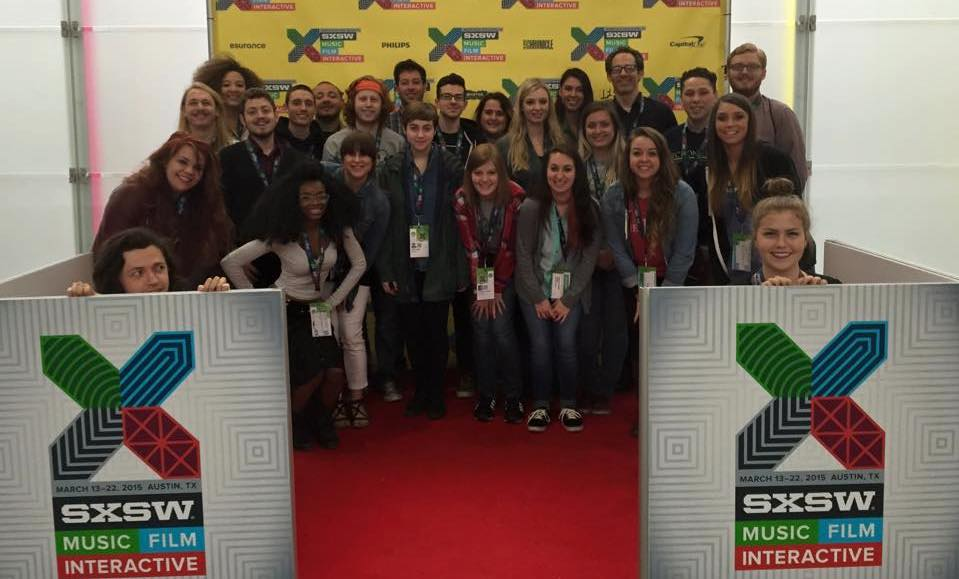 Photo of students gathered on red carpet at South by Southwest festival