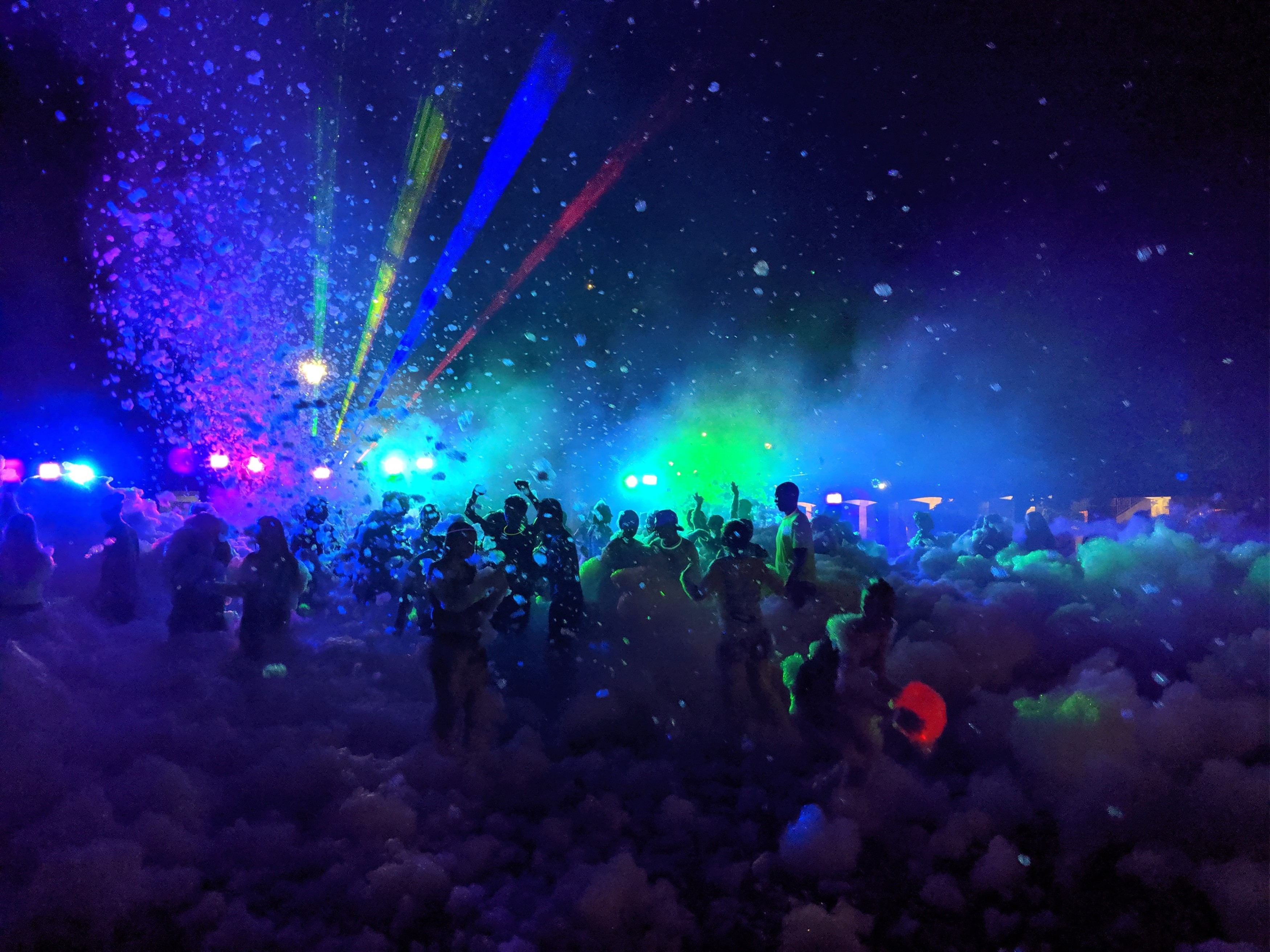 Large crowd at foam dance party
