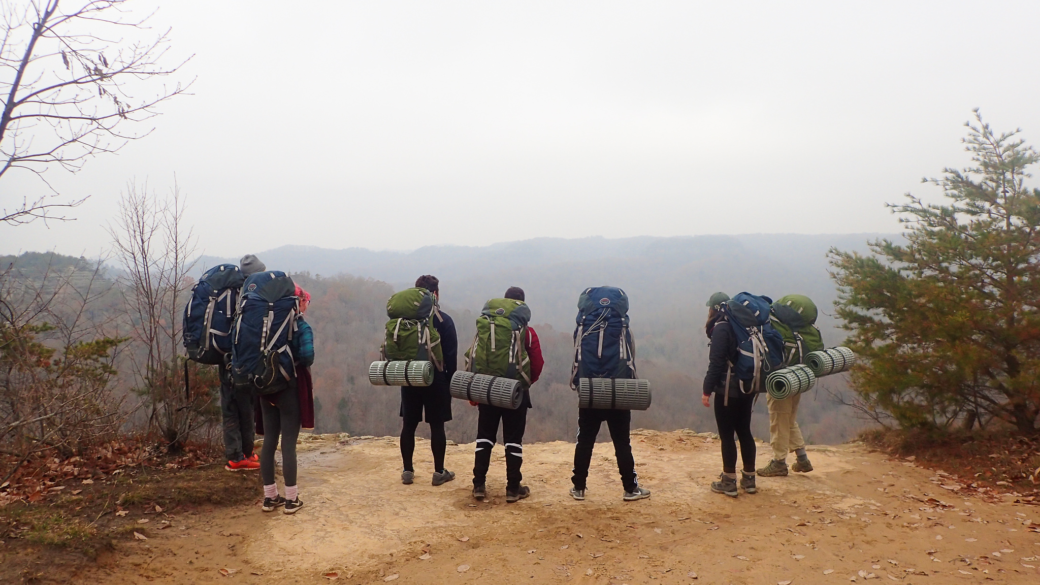Students backpacking looking at a view from a mountain