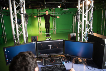 Students in the Ohio University GRID lab work with motion capture equipment