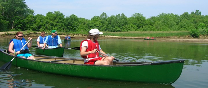 Students canoeing