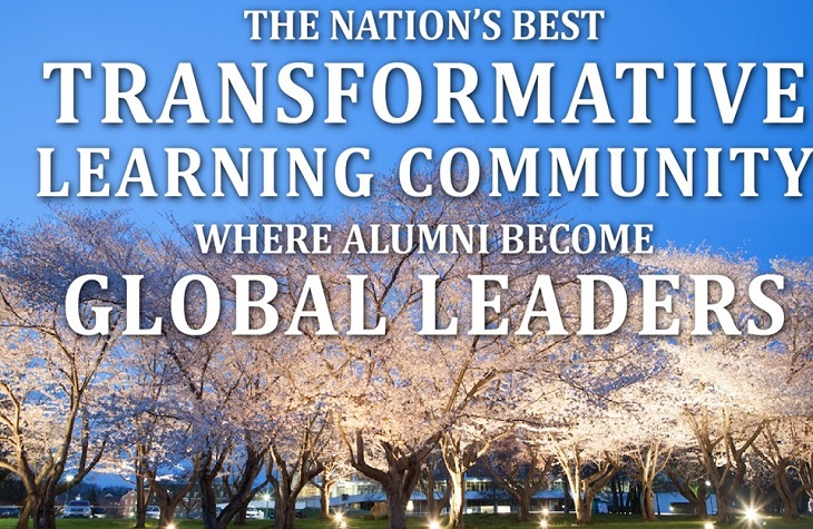 "Banner featuring cherry blossom trees that reads ""The nation's best transformative learning community where alumni become global leaders""."