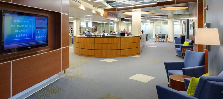 Interior of Hannah V. McCauley Library, seen from entrance