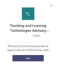 Screen Shot: Join the Teaching & Learning Technologies Advisory Community on Teams