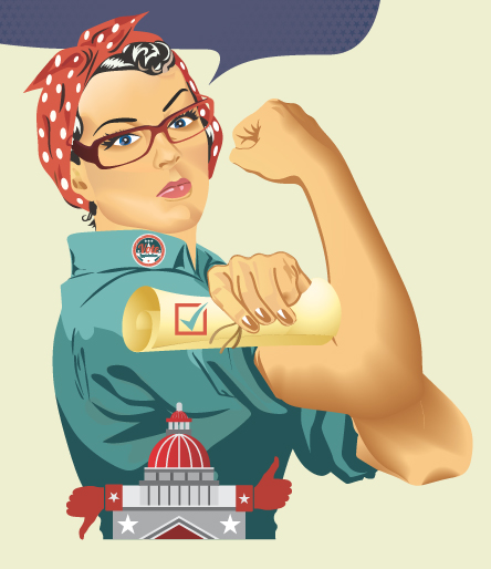 Woman with strong arm. Political cartoon