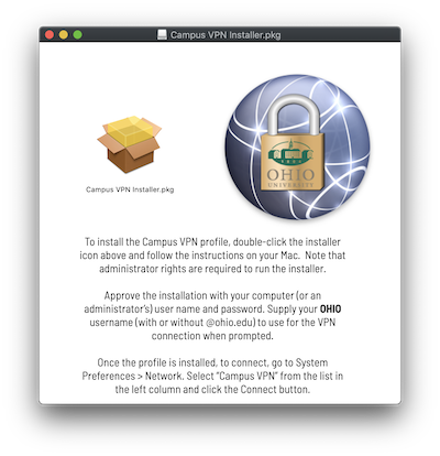 Screen shot: VPN setup for WOUB and other users who need access to the legacy VPN