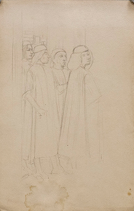 several lightly sketched figures
