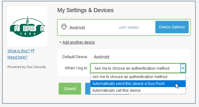 "Screenshot of drop down menu to ""Automatically send this device a Duo Push"""