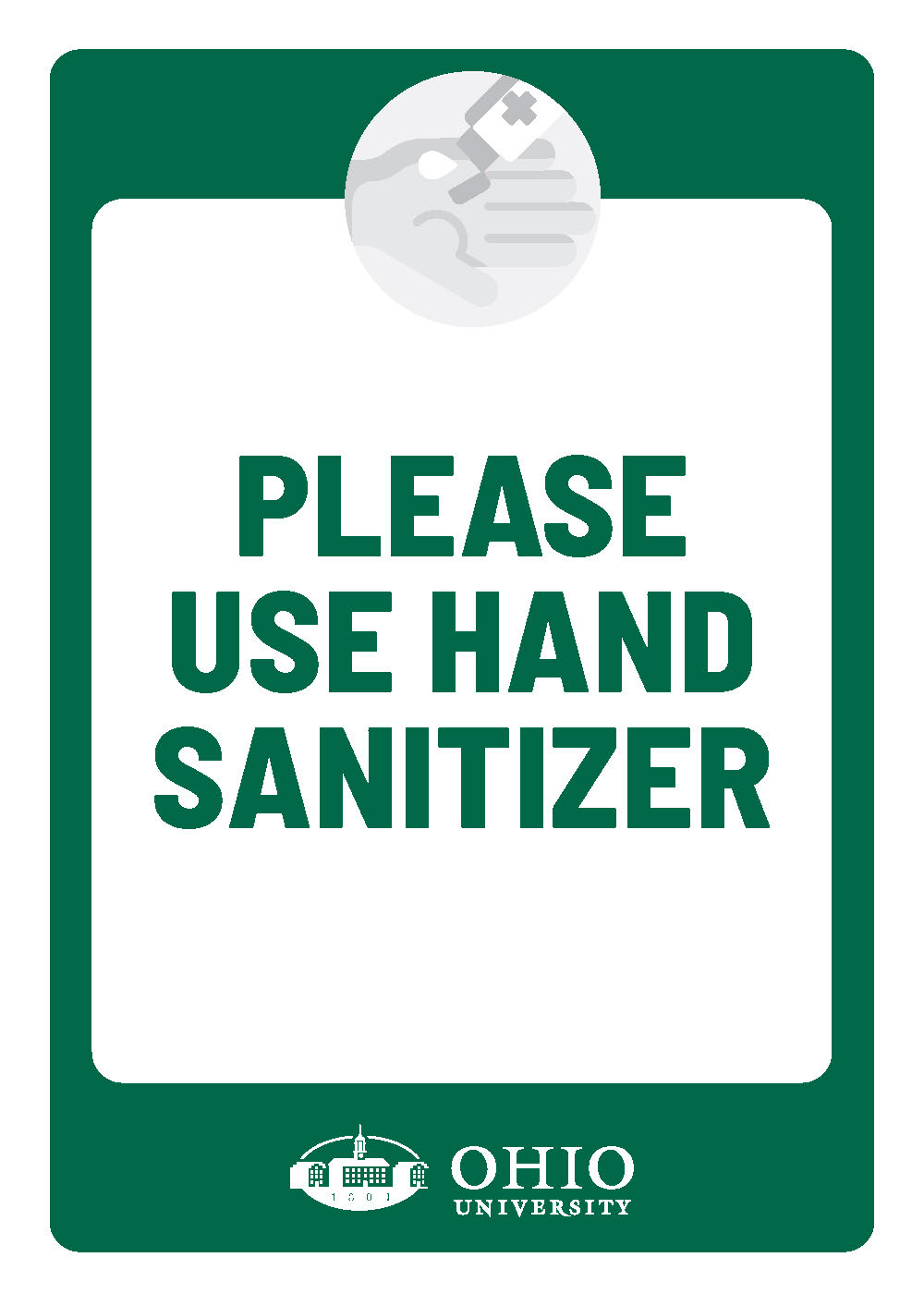 Sign that says: Please use hand santizer