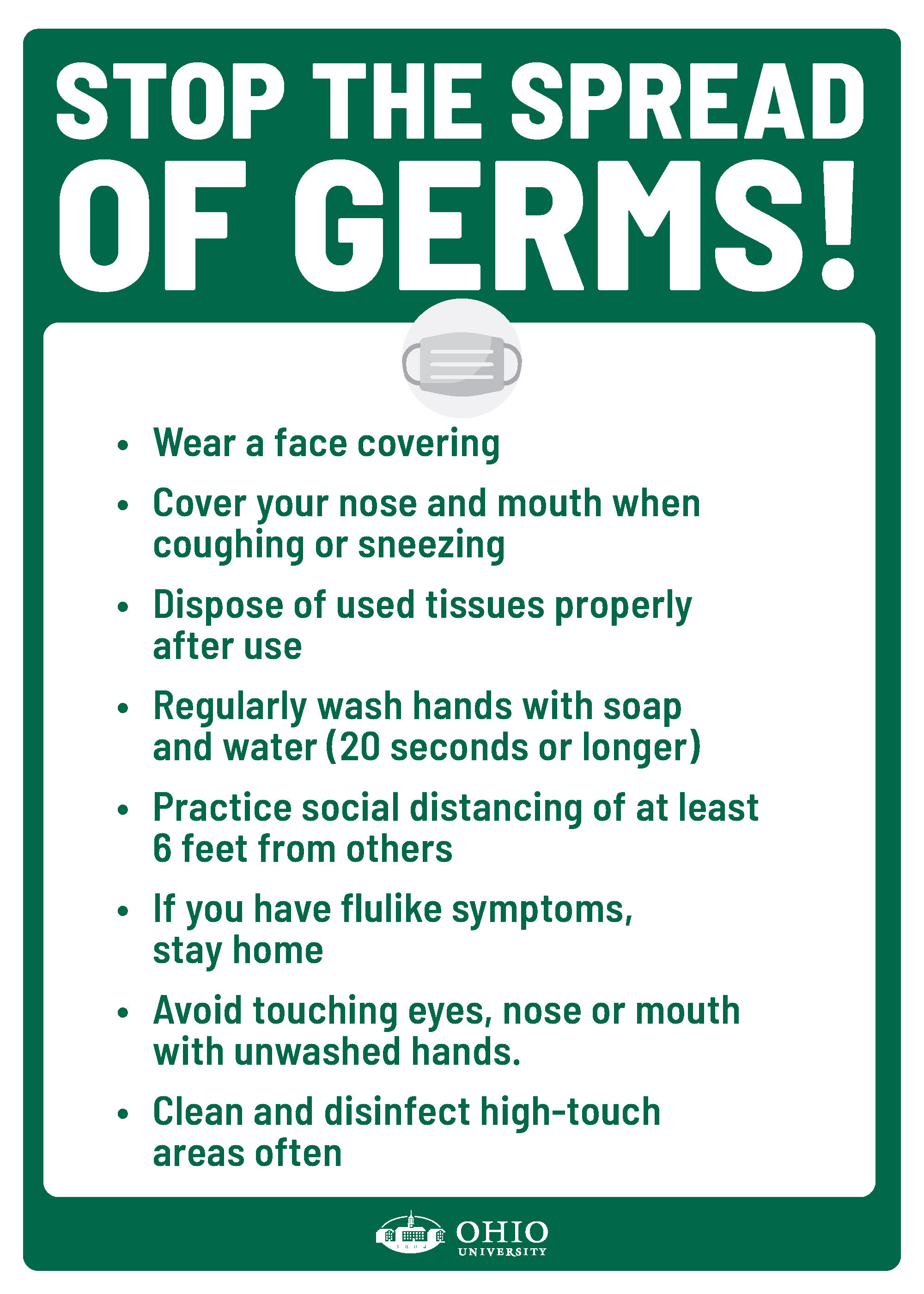 A sign that contains general guidelines for containing germs during COVID