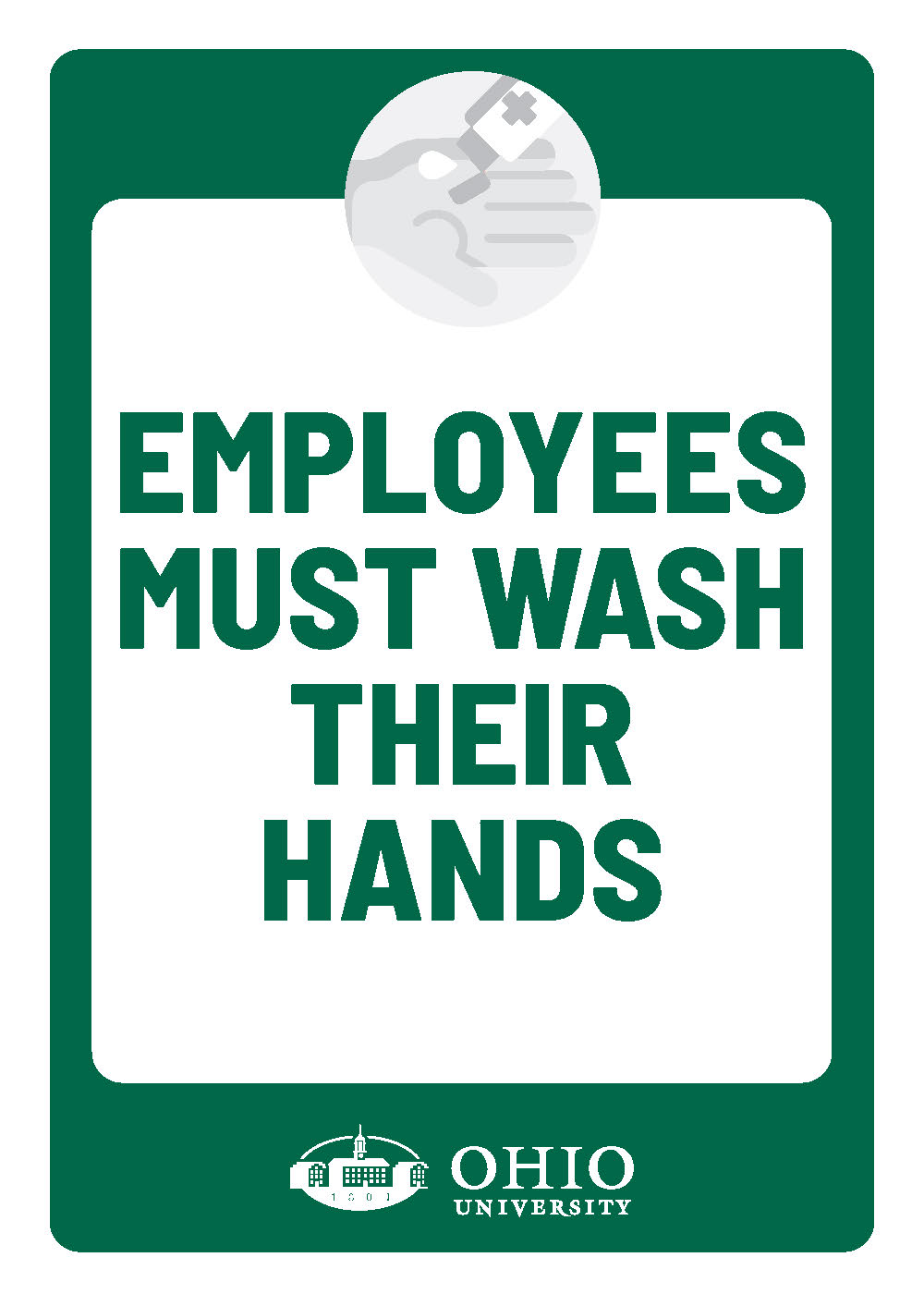 Sign that says: Employees must wash hands