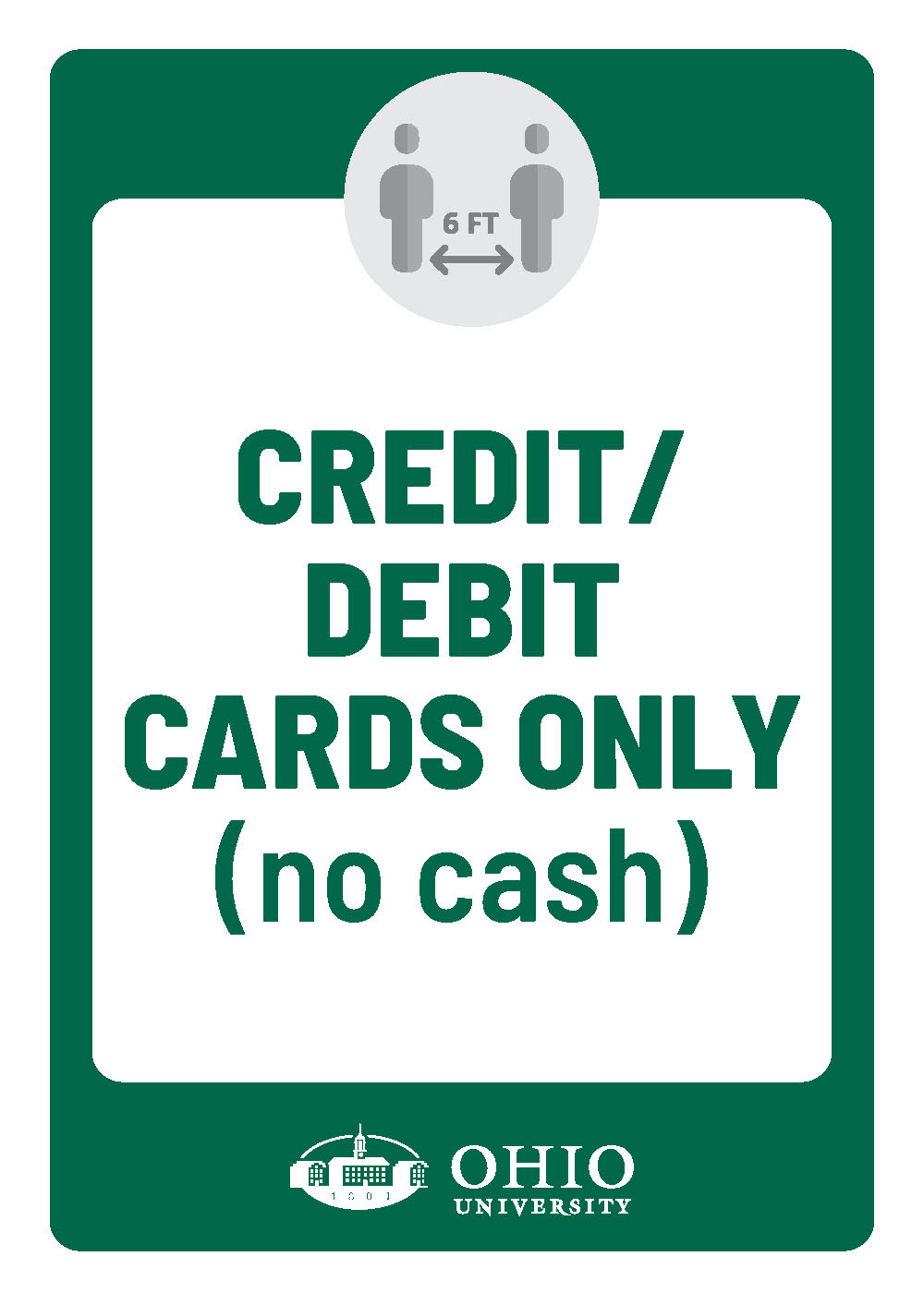 Sign that says: Credit/Debit cards only. no cash