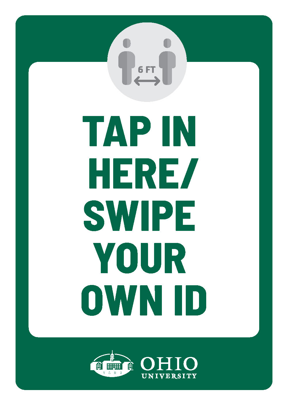 Sign that says: Tap in here/Swipe your own ID