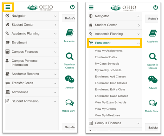 My OHIO Student Center main menu