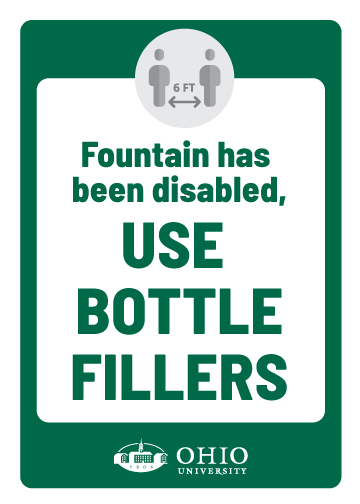 Sign that says: Fountain has been disable. Use bottle fillers.
