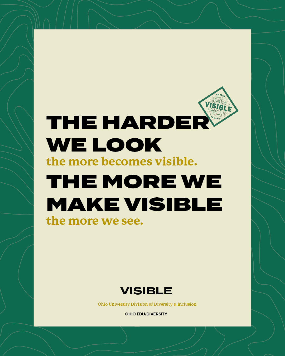 The harder we look the more becomes visible. The more we make visible the more we see.