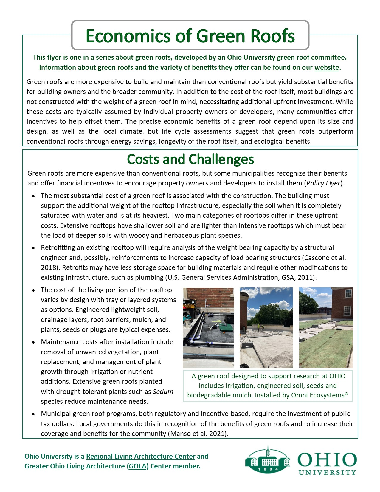 An informational flyer on green roof economic issues page 1