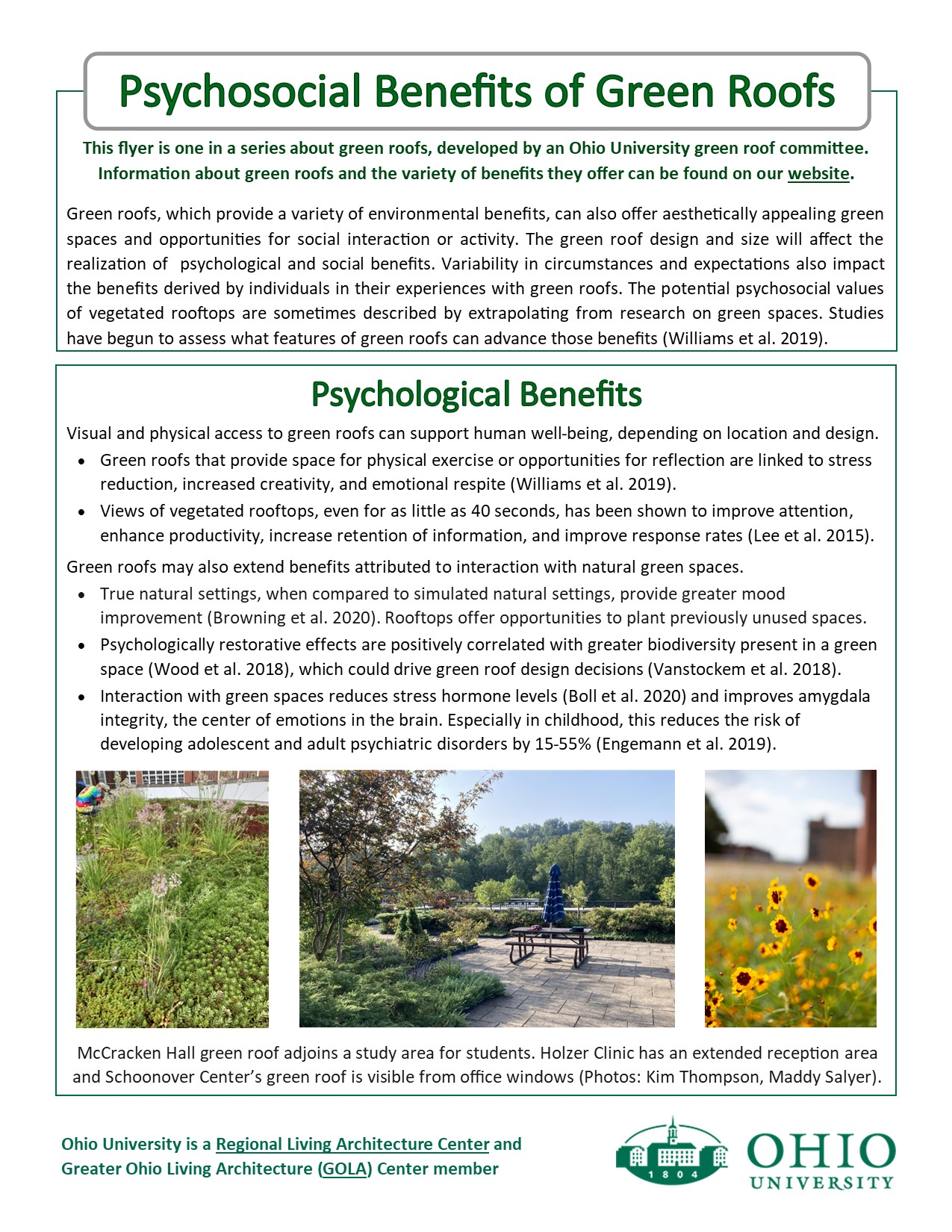 Psychosocial benefits of Green Roofs flyer p. 1