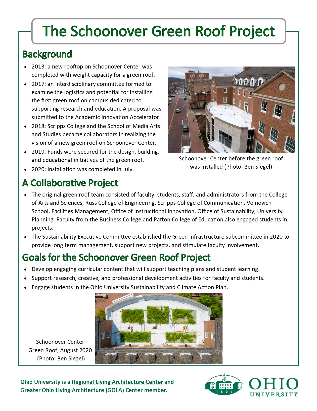 Flyer describing a green roof on Schoonover Center p.1
