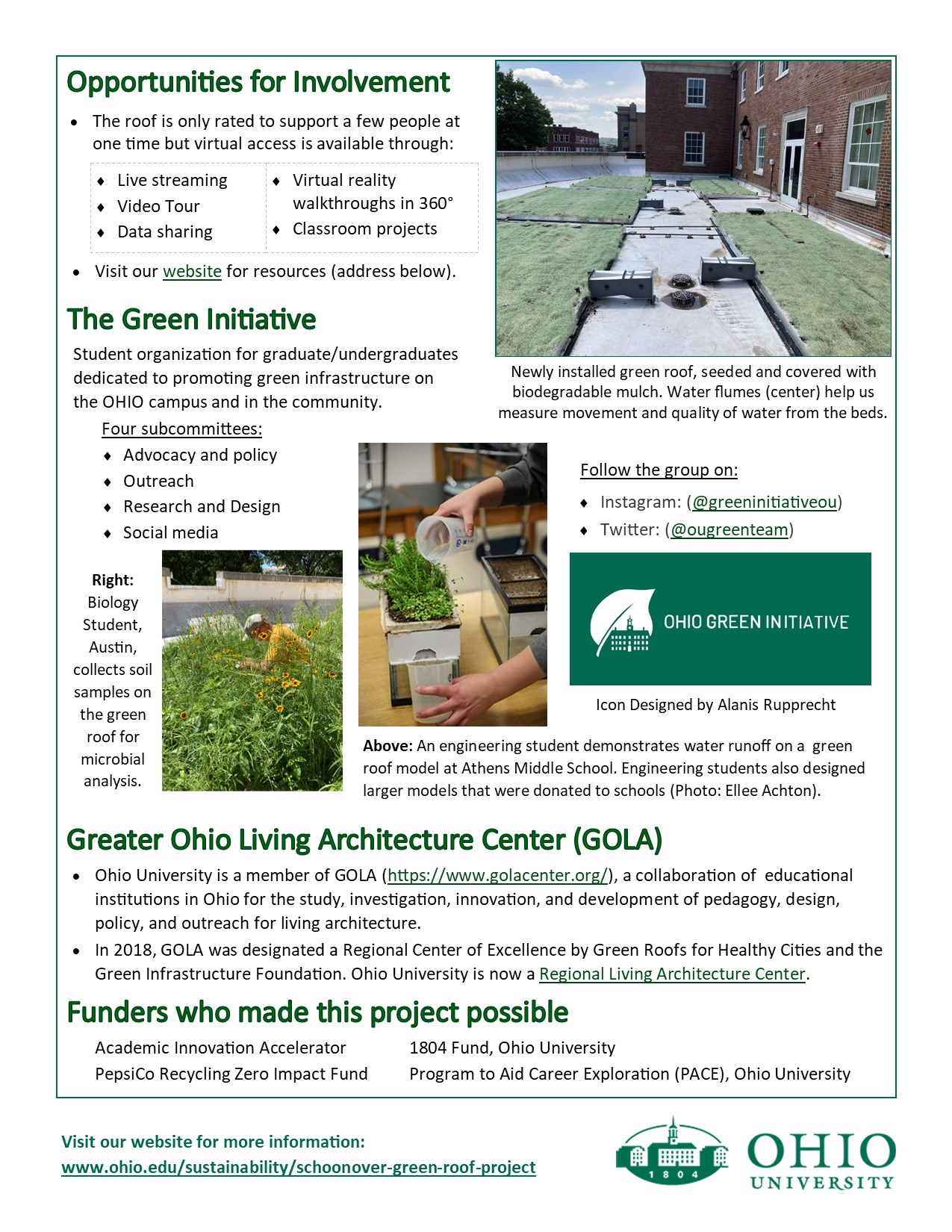 Flyer describing a green roof on Schoonover Center p.2