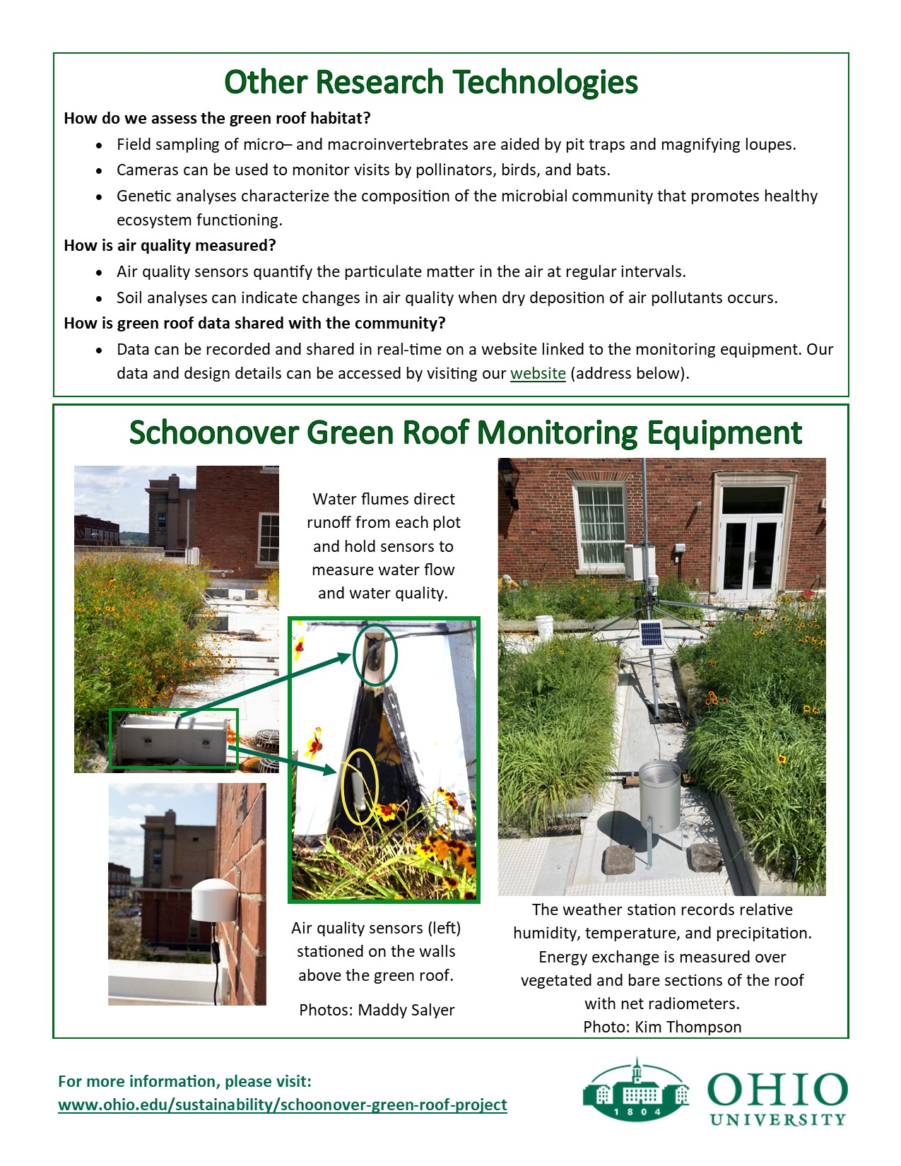 An informational flyer on technology used on green roofs page 2