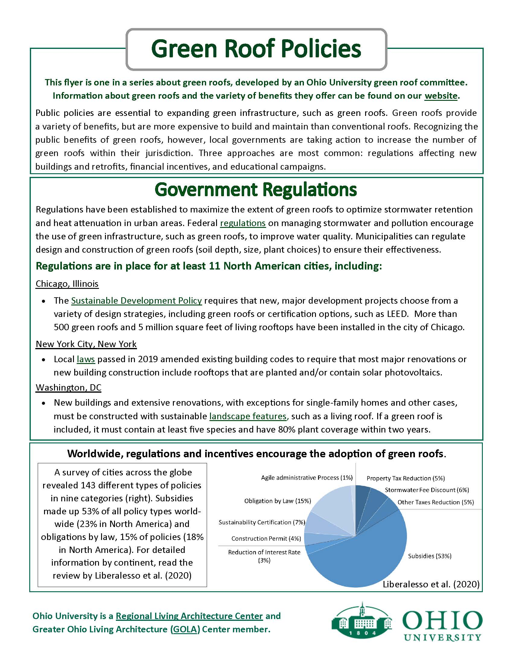 An image of a flyer on green roof policies page 1