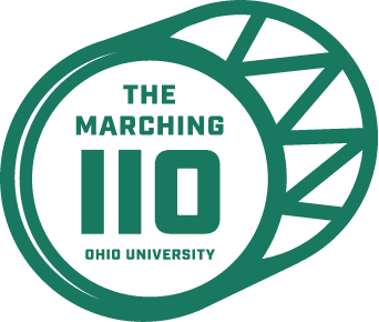 The Marching 110 text with drum shape