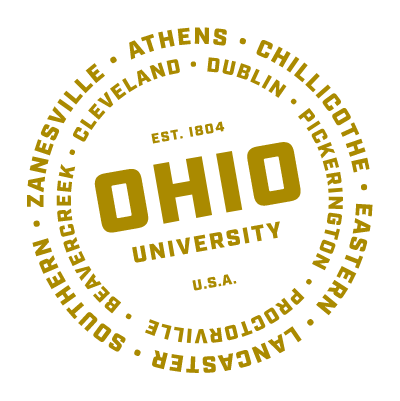 text in a circle shape that lists all of Ohio University's locations