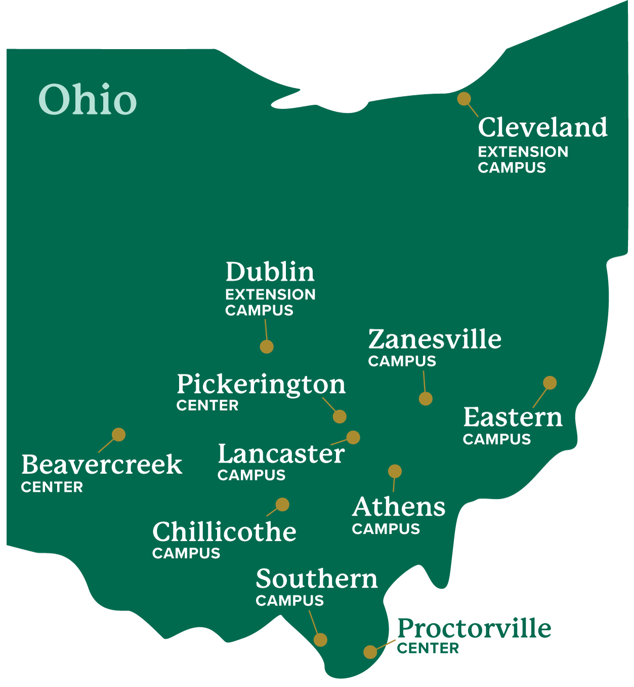 map of the state of Ohio with indicators for each Ohio University location