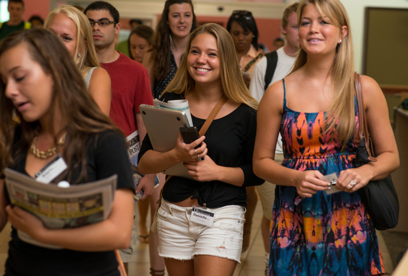A group of new OHIO students participating in Bobcat Student Orientation