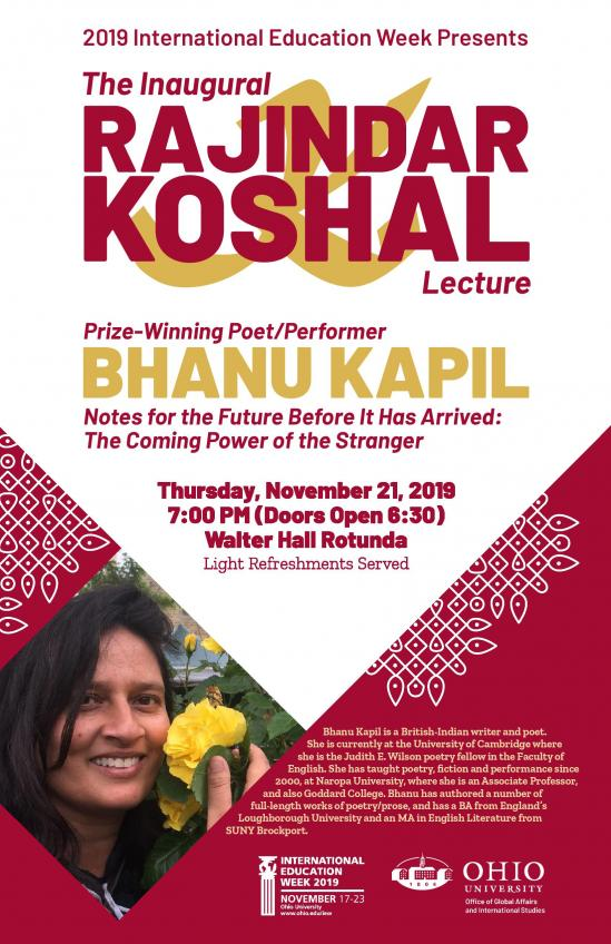 Bhanu Kapil Poster for the IEW page